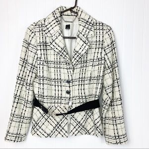 White House Black Market Wool Tweed Peplum Blazer